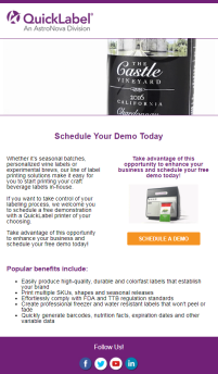 QL_Craft-Beverage_Email-Campaign_Email6_Schedule a free demo with any of our label printers